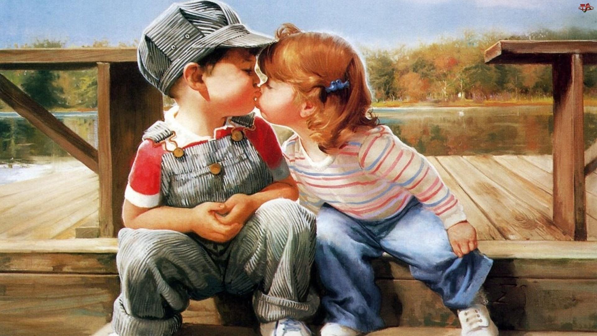 Открытки целуются мальчик и девочка