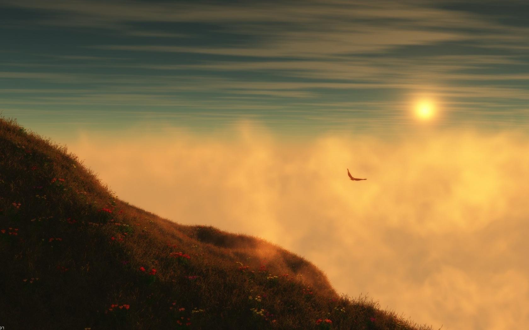 Фото журавль летит над землей, внизу протекает речка с нависшим над ней туманом и на небе поднимается солнце